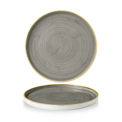 Churchill Stonecast Peppercorn Grey Chefs' Walled Plate 26 cm