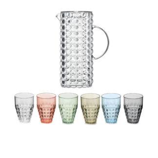 Guzzini Tiffany set 6 bicchieri alti + caraffa