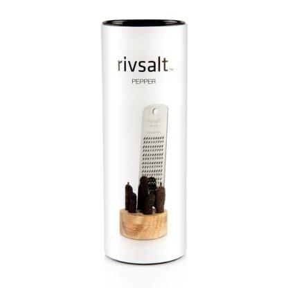 Rivsalt Rivpepper Set grattugia inox, pepe lungo di Java, base legno