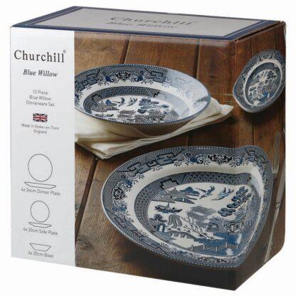 Churchill Blue Willow Set 4 posti tavola, 12 pezzi
